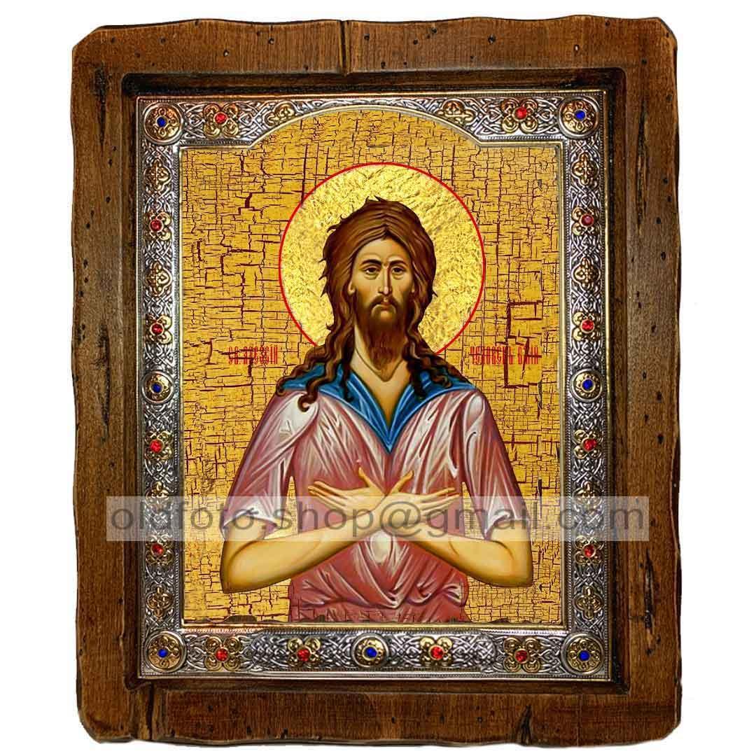Икона Алексий Человек Божий  ,с посеребренным окладом 110х130 мм