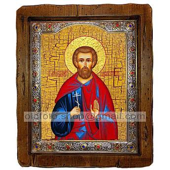 Икона Богдан (Феодот) Святой Мученик Адрианопольский  ,с посеребренным окладом 210х250 мм