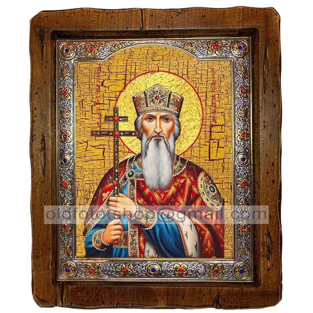 Икона Владимир Святой Равноапостольный Князь (с посеребренной рамкой 110х130мм)