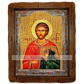 Икона Евгений Севастийский  ,с посеребренным окладом 110х130 мм