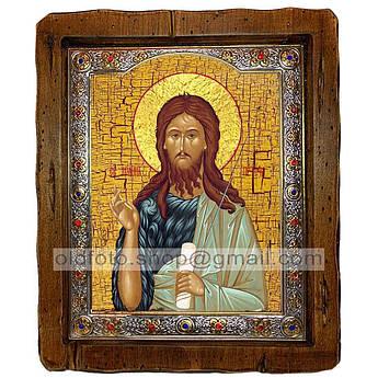 Икона Иоанн Предтеча Пророк и креститель  ,с посеребренным окладом 110х130 мм