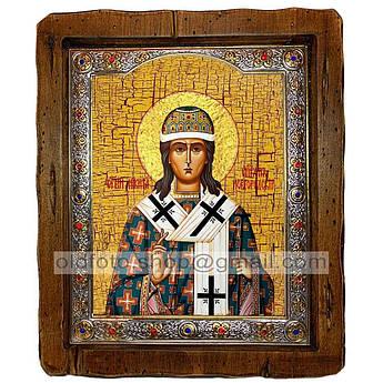 Икона Никита Новгородский  ,с посеребренным окладом 110х130 мм