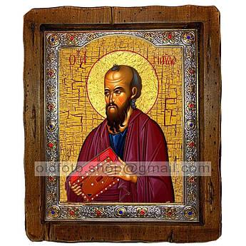 Икона Павел Святой Апостол  ,с посеребренным окладом 110х130 мм