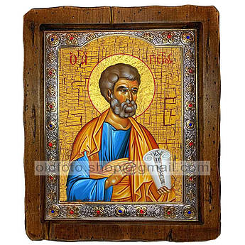 Икона Петр Святой Апостол  ,с посеребренным окладом 110х130 мм
