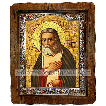 Икона Серафим Преподобный Саровский  ,с посеребренным окладом 110х130 мм