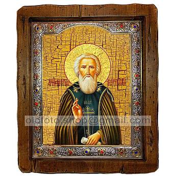 Икона Сергий (Сергей) Святой Радонежский  ,с посеребренным окладом 110х130 мм