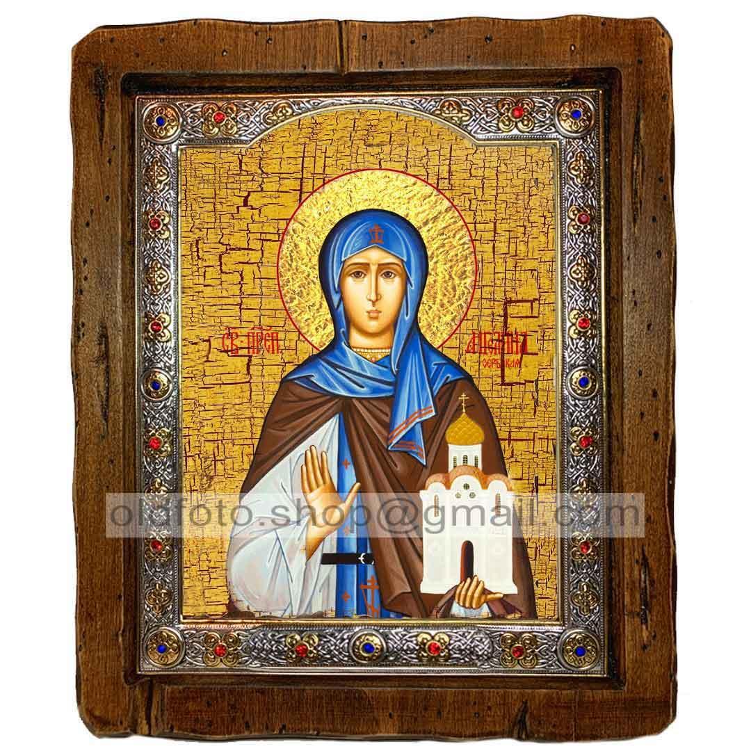 Икона Ангелина Святая Преподобная Сербская (с посеребренной рамкой 110х130мм)