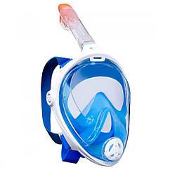 Інноваційна маска для снорклінга підводного плавання Easybreath розмір L\XL Синя