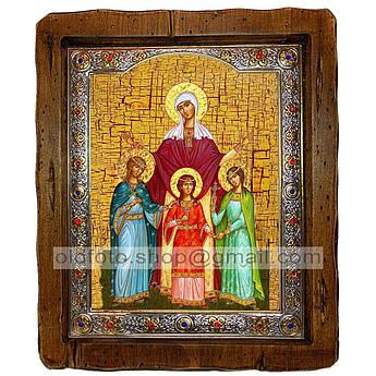 Ікона Віра, Надія, Любов та матір їх Софія Святі Мучениці (з посрібленою рамкою 110х130 мм)