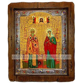 Ікона Кіпріан і Іустина Святих Великомучеників (з посрібленою рамкою 110х130 мм)