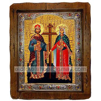 Ікона Костянтин і Олена Святі Рівноапостольні (з посрібленою рамкою 110х130 мм)