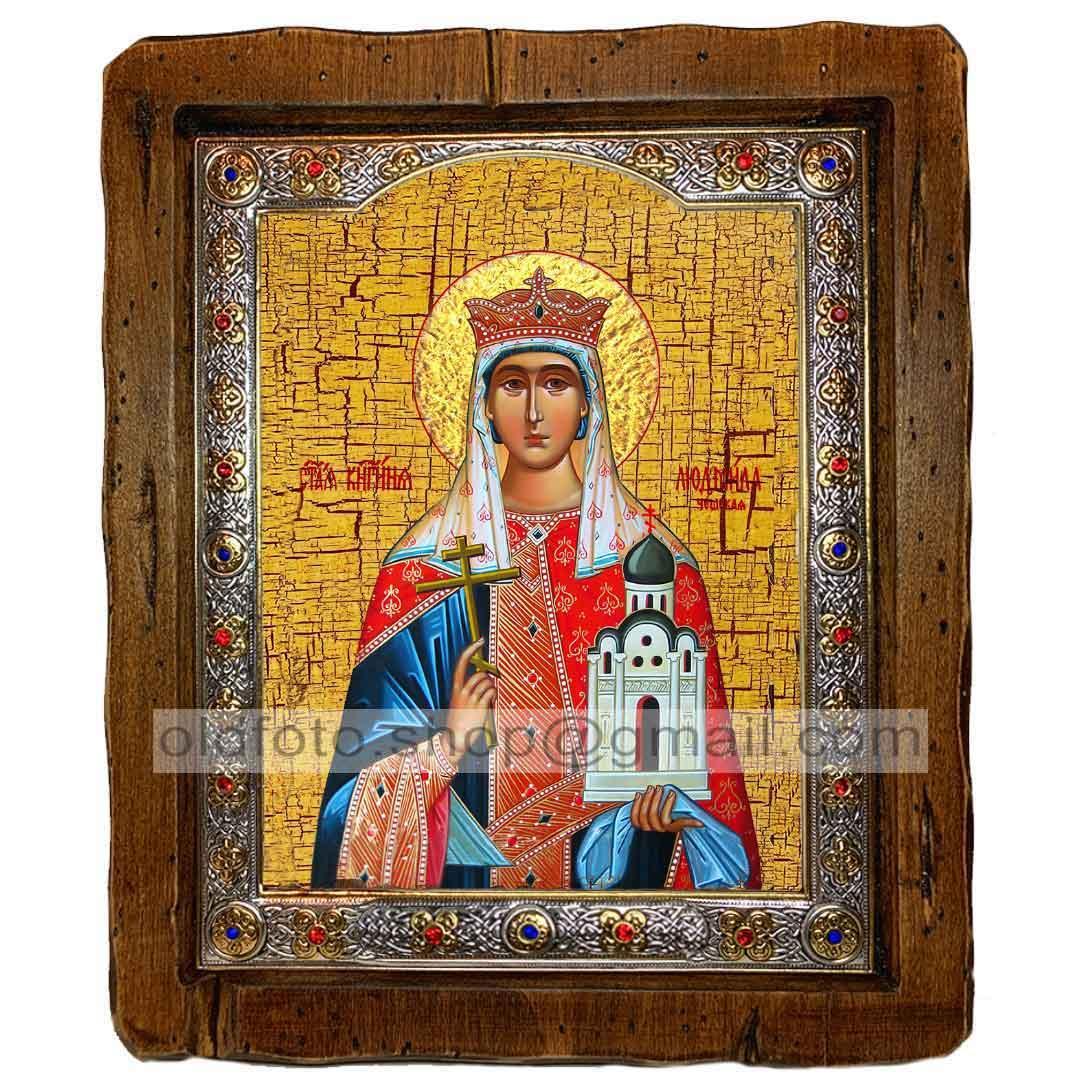 Икона Людмила Святая Мученица Княгиня Чешская (с посеребренной рамкой 110х130мм)