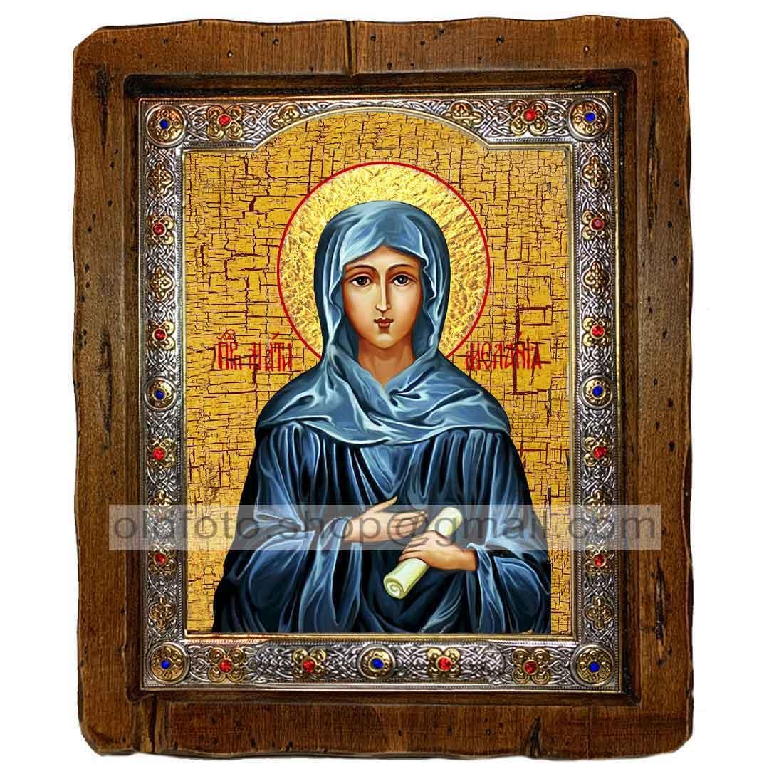 Икона Мелания Святая Римляныня (с посеребренной рамкой 110х130мм)