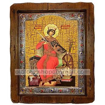 Икона Екатерина Святая Великомученица Александрийская  ,с посеребренным окладом 160х200 мм