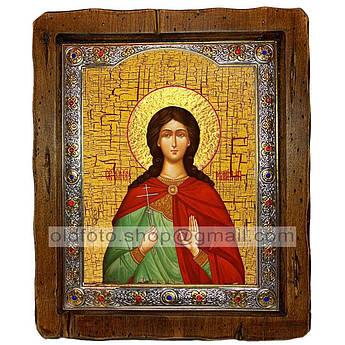 Икона Марина Святая Великомученица  ,с посеребренным окладом 160х200 мм
