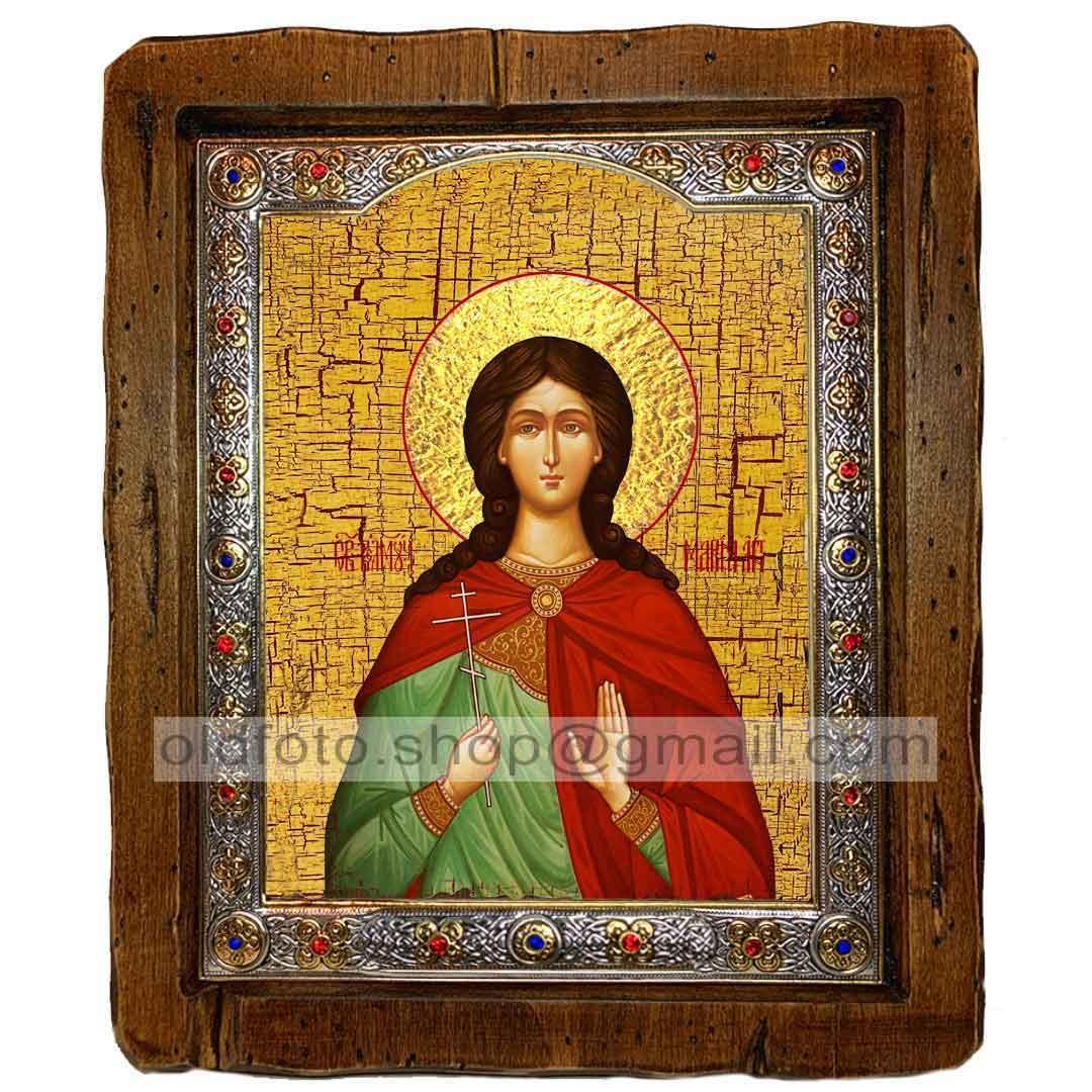 Икона Марина Святая Великомученица  ,с посеребренным окладом 110х130 мм