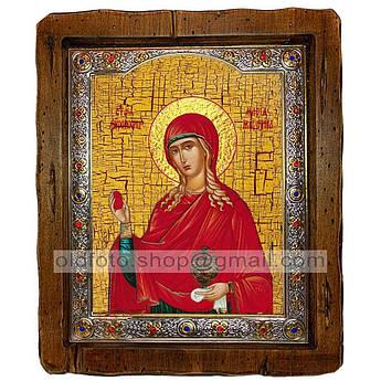 Икона Мария Святая Равноапостольная Магдалина  ,с посеребренным окладом 160х200 мм