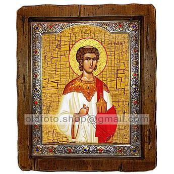 Икона Стефан Святой Апостол Первомученик и Архидиакон  ,с посеребренным окладом 110х130 мм