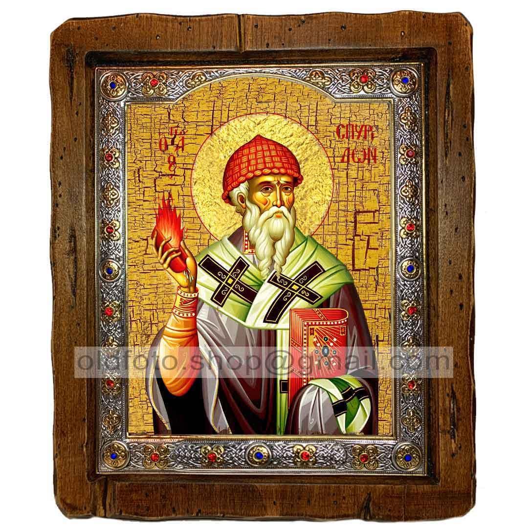 Ікона Святитель Спиридон Триміфунтський (поясний) (з посрібленою рамкою 110х130мм)