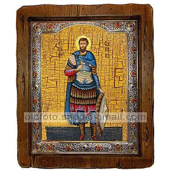 Икона Савелий Персиянин Мученик  ,с посеребренным окладом 110х130 мм