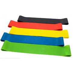 Набір стрічок-еспандерів для фітнесу 25 см 5 шт Різнобарвний