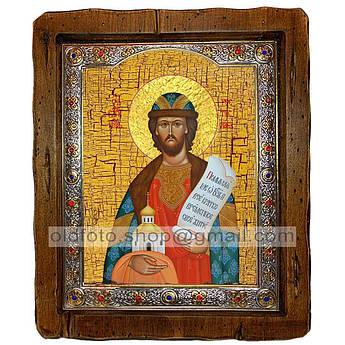 Икона Ростислав Святой Благоверный Князь  ,с посеребренным окладом 210х250 мм