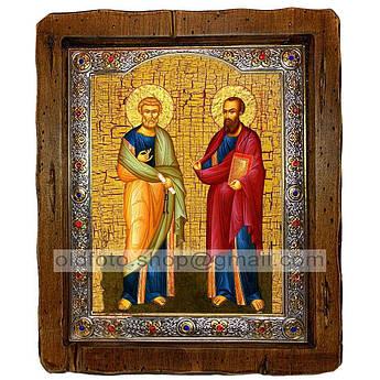 Икона Петр и Павел Святые Апостолы  ,с посеребренным окладом 110х130 мм