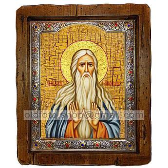 Икона Макарий Великий Преподобный  ,с посеребренным окладом 110х130 мм