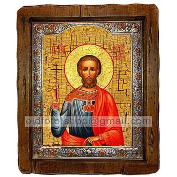 Икона Леонид Святой Мученик Коринфский  ,с посеребренным окладом 110х130 мм