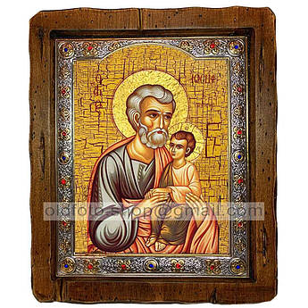 Икона Иосиф Обручник Святой праведный  ,с посеребренным окладом 110х130 мм