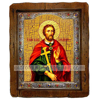 Икона Иоанн Сочавский Святой Великомученик  ,с посеребренным окладом 110х130 мм