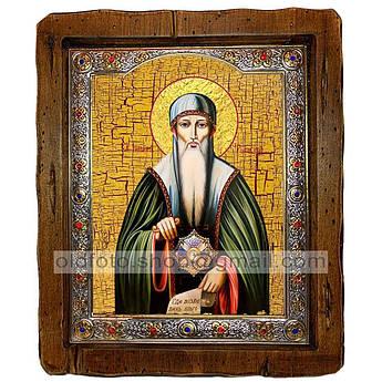 Икона Иоанн Рыльский Святой Преподобный   ,с посеребренным окладом 110х130 мм