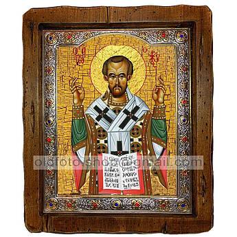 Икона Иоанн Златоуст Святитель  ,с посеребренным окладом 110х130 мм