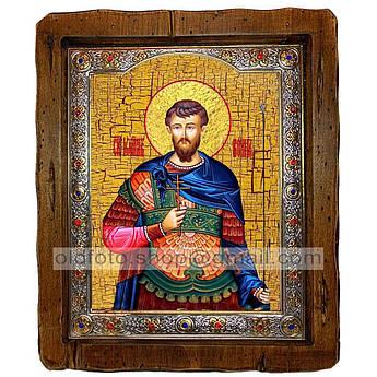 Икона Иоанн Святой Мученик Воин  ,с посеребренным окладом 110х130 мм