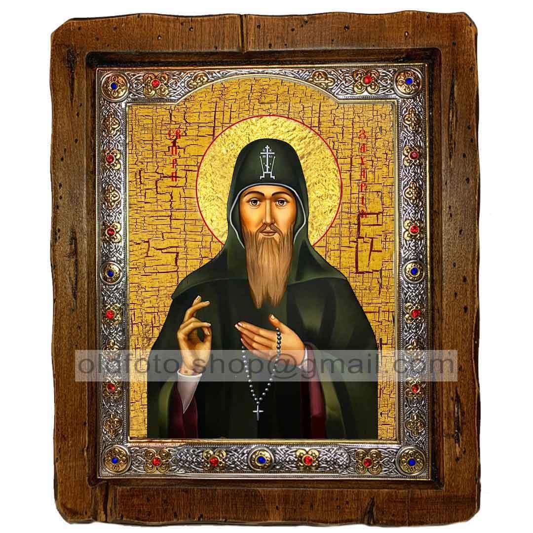 Ікона Захарій Преподобний Печерський (з посрібленою рамкою 110х130мм)
