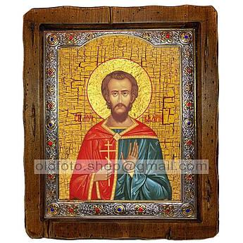 Икона Валерий Святой Мученик Севастийский  ,с посеребренным окладом 210х250 мм