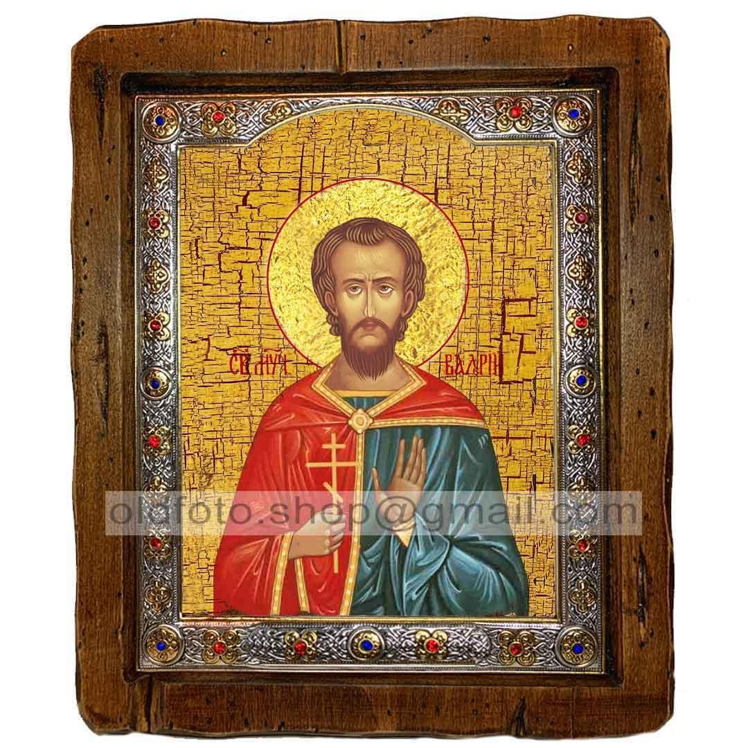 Икона Валерий Святой Мученик Севастийский  ,с посеребренным окладом 110х130 мм