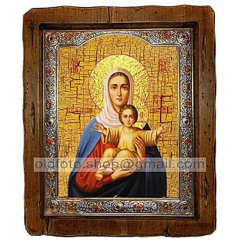 Аз Есмь с Вами и Никтоже на Вы Икона Пресвятой Богородицы  ,с посеребренным окладом 110х130 мм