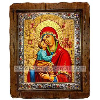 Акафистная икона Божией Матери  ,с посеребренным окладом 210х250 мм