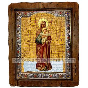 Благодатное Небо Икона Пресвятой Богородицы  ,с посеребренным окладом 110х130 мм