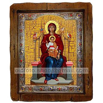 Икона Пресвятая Богородица на престоле  ,с посеребренным окладом 110х130 мм