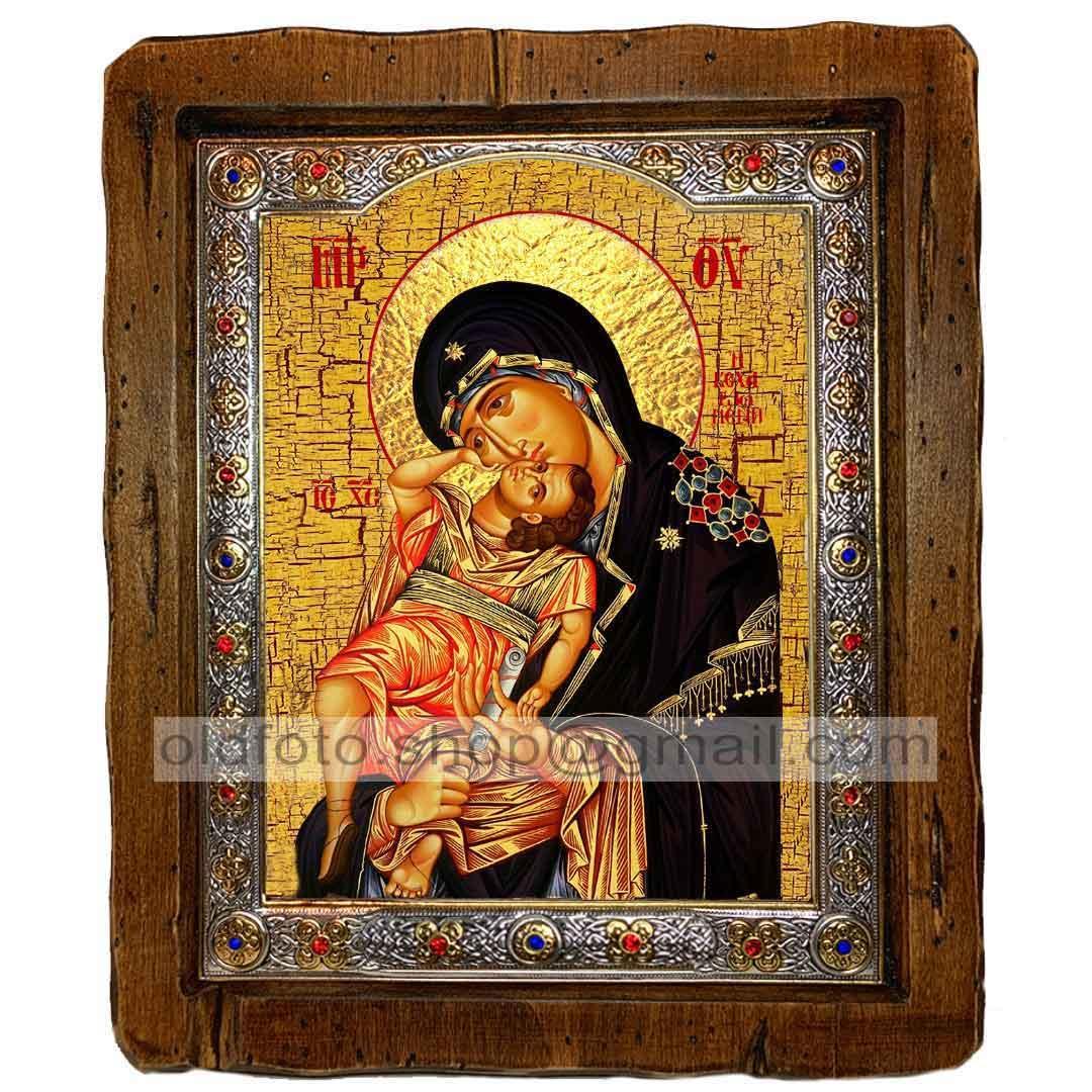 Взыграние Младенца Икона Пресвятой Богородицы  ,с посеребренным окладом 160х200 мм