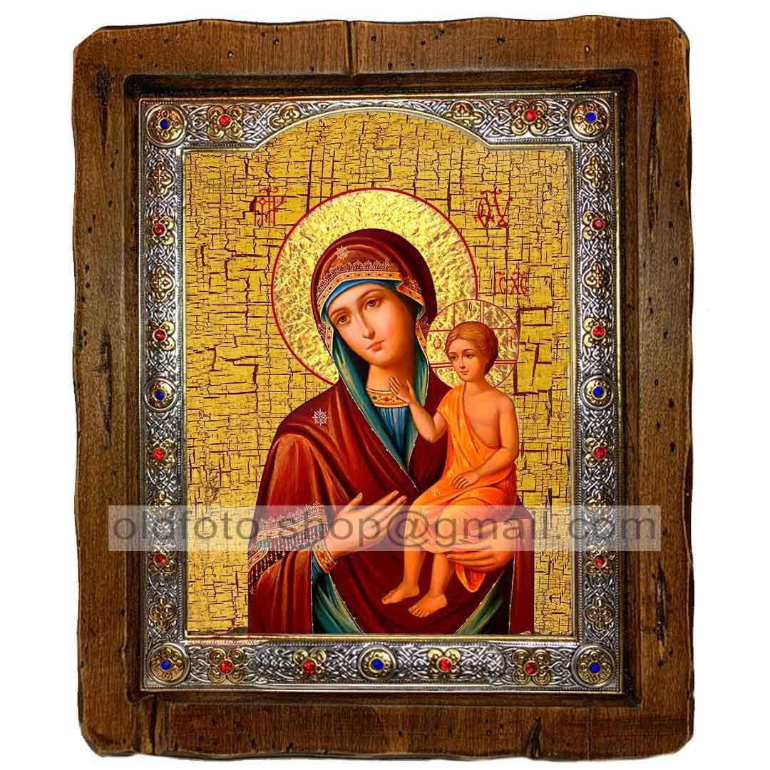 Воспитание Икона Пресвятой Богородицы (с посеребренной рамкой 110х130мм)