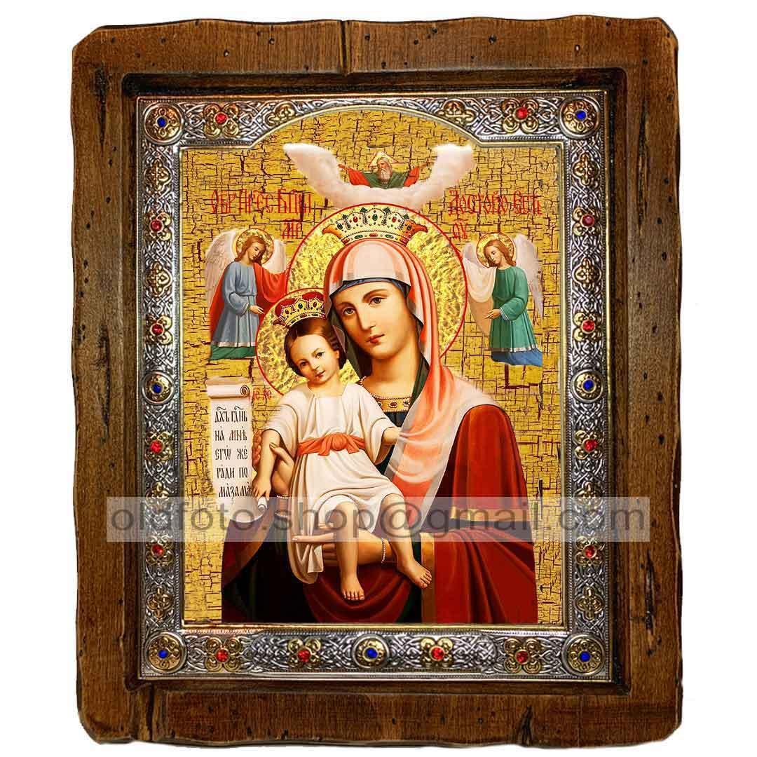 Достойно Есть Икона Пресвятой Богородицы  ,с посеребренным окладом 110х130 мм