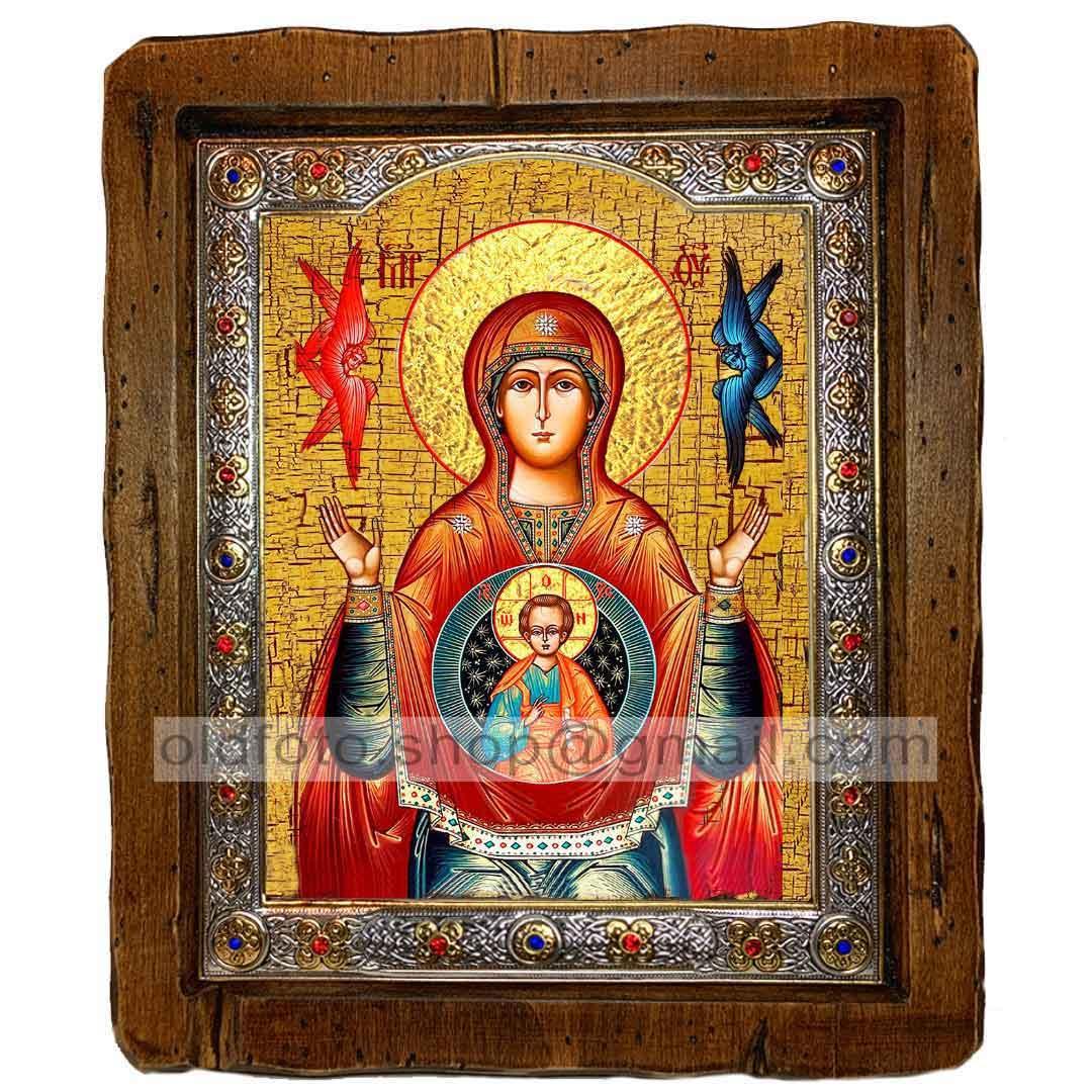 Знамення Ікона Пресвятої Богородиці (з посрібленою рамкою 110х130мм)