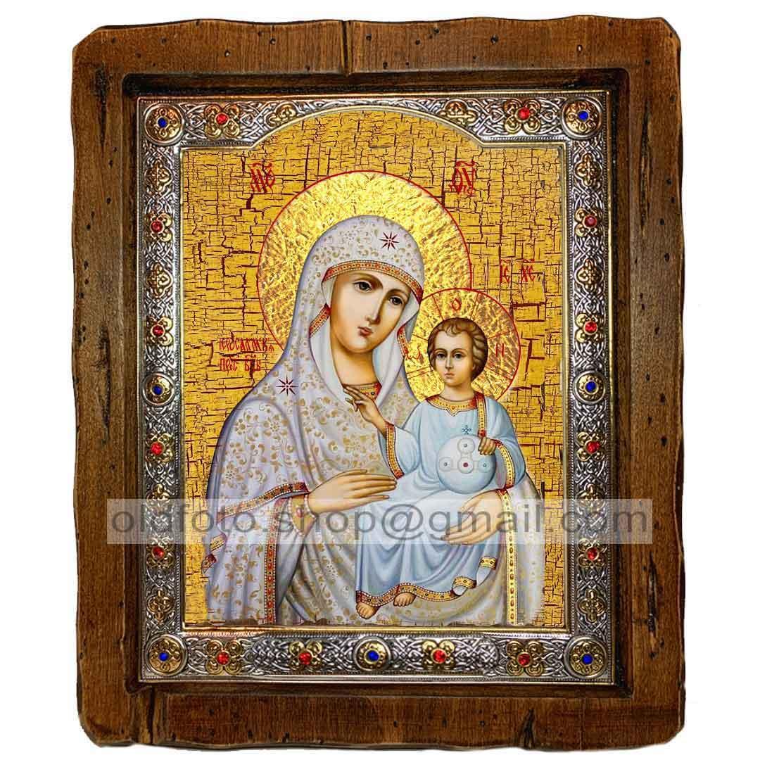 Иерусалимская Икона Пресвятой Богородицы (с посеребренной рамкой 110х130мм)