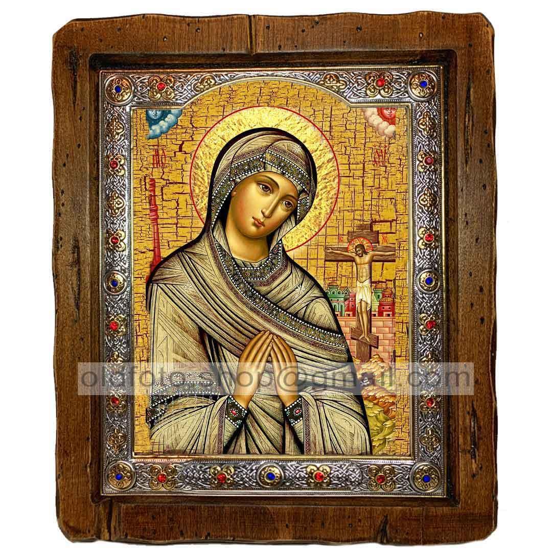 Охтирська Ікона Пресвятої Богородиці (з посрібленою рамкою 110х130 мм)