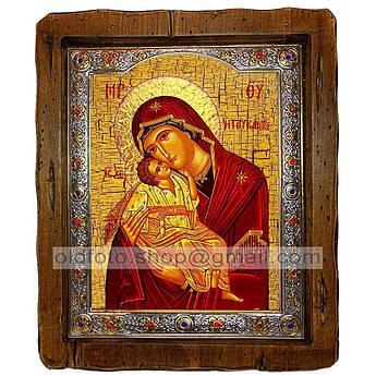 Сладкое Лобзание (Гликофилуса) Икона Пресвятой Богородицы  ,с посеребренным окладом 110х130 мм