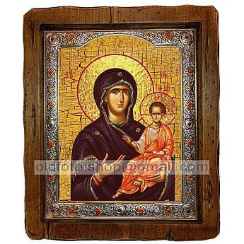 Одигитрия (Смоленская) Икона Пресвятой Богородицы  ,с посеребренным окладом 110х130 мм