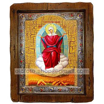 Спорительница Хлебов Икона Пресвятой Богородицы  ,с посеребренным окладом 110х130 мм